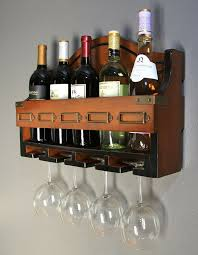 details about wood kitchen bar wine storage rack wall mounted hanging bottle glass holder new