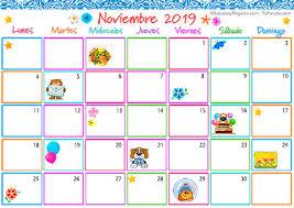 Calendario Noviembre 2020 Para Imprimir Calendario Multicolor Noviembre 2019 Calendario