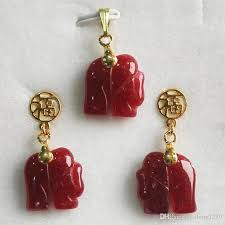 natural 14kgp red jade elephant pendant necklace earring set from dong1229 22 1 dhgate com