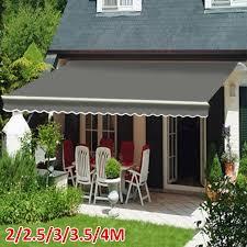 grey manual awning garden sun shade retractable
