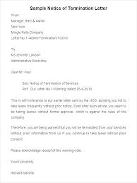 Termination Letter Sample At Will Luxury Termination Service