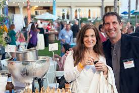 natalie sarle and kevin cahalan of the sliding door café in balboa village at the dine newport beach launch party