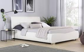 gallery dorado white leather double bed
