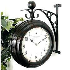 two sided hanging clock vintage indoor outdoor double sided station train metal hanging clock clocks
