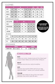 Size Chart Soho Girl