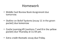 homework middle east review book assignment due tomorrow outline  1 homework middle east review book assignment due tomorrow outline on belief systems essay