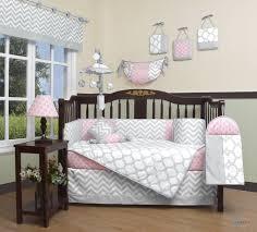 image of baby girl gray crib bedding sets