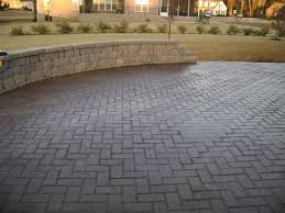 stamped concrete patio made of herringbone