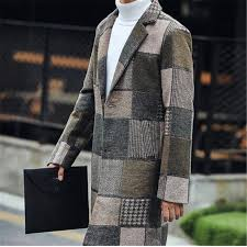 plus size 2018 korean style plaid slim mens clothing overcoats fashion winter dress coat mens wool blends