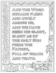 Christmas coloring pages for kids & adults to color in and celebrate all things christmas, from santa to best free christmas coloring pages for the holidays. Print And Color Page For John 1 14 The Word Became Flesh Bible Verse I Have Hundreds More Love Coloring Pages Bible Verse Coloring Page Bible Verse Coloring
