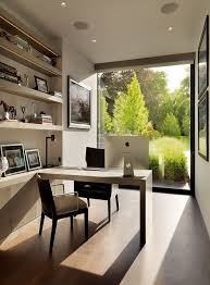 modern home office design displaying. Like The Large Window Displaying Green View, Not Necessarily Styling Of Room Though Modern Home Office Design A