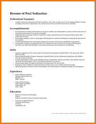 Resume Sample Summary Professional summary for job 60 resume examples of accomplishments 35