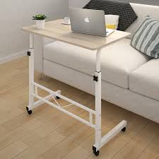 adjule portable sofa bed side table laptop desk with wheels white frame