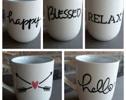 Hand Painted Mugs, Hello, Blessed, Arrows, Heart, Happy, Relax,