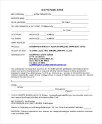 Contract Bid Proposal Sample Bid Form Under Fontanacountryinn Com
