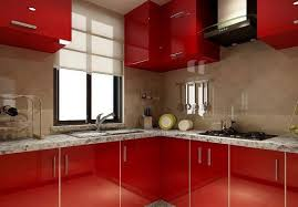 ... Kitchen, 3d Rendering Of Red Kitchen Cabinets Red Bold Lacquer Color Red  Kitchen Cabinets For ...