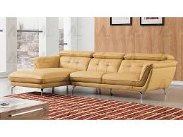 modern 2pcs yellow leather match right chaise sectional