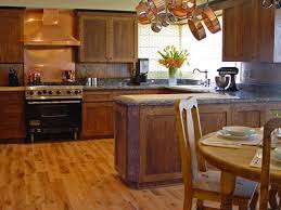 Rustic Kitchen Flooring Stone Kitchen Flooring Rustic Style Dark Brown Cabinets And Island