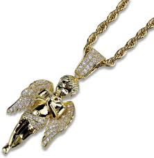 angel pendant gold plated medallion mini set zircon hip punk men s necklace souq uae