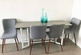 amazon coavas kitchen dining chairs set of 4 fabric cushion side chairs sy metal legs home kitchen living room table grey chairs