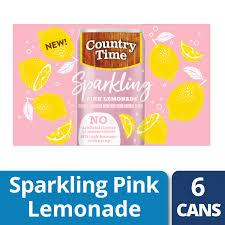 Pink Lemonade Designs Country Time Sparkling Pink Lemonade 6 Ct 7 5 Fl Oz Cans