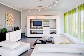 decoration small modern living room furniture. Small Modern Living Room With White Furniture And Green Drapes Decoration