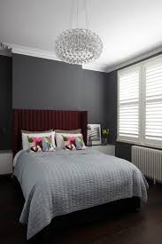 Blue Grey Color Scheme For Contemporary Bedroom With Burgundy Bed