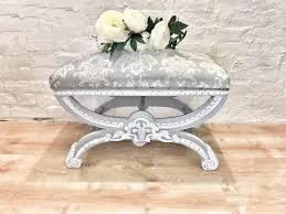 over stuffed vintage dressing table stool would be ideal match with the victorian dressing table painted in autentico chalk paint colour french grey and