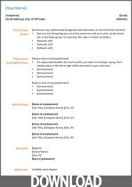 Resume Template Microsoft Office