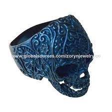 china 316 snless steel jewelry biker jewelry skull ring with ip blue plating fine pattern whole