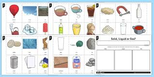 Gas Liquid Solids Solid Liquid And Gases Ks2 Sorting Activity Science Resource