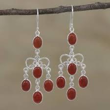 natural carnelian chandelier earrings