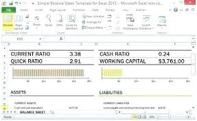Simple Balance Sheet Template For Excel With Working Capital