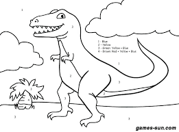Free Easy Dinosaur Coloring Pages Excellent Dinosaur Color By Number