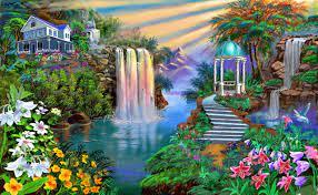 Painting Fantasy Falls Garden Nature ...