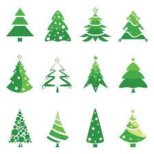 Christmas Tree Logos Vector Set Of 12 Green Vector