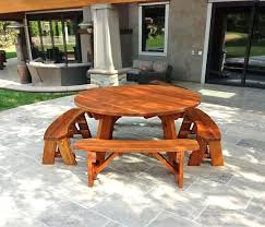 round picnic table options 5 1 2 diameter unattached benches wood wooden tables detached