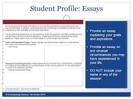 all dollars for scholars scholarships are applied for online via  student profile essays © scholarship america 2014