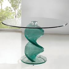 room modern camille glass:  dining room twirl round glass dining table design modern feature unique spiral glass leg and