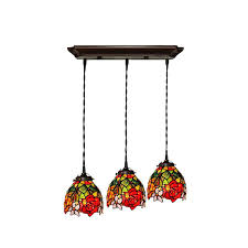 inspiring style ceiling lights 3 light rose pattern stained glass pendant tiffany lamps lighting patte