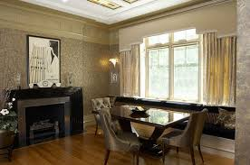 View in gallery Art deco dining area with elegant furniture