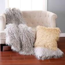 grey mongolian faux fur throws for your furniture decor idea