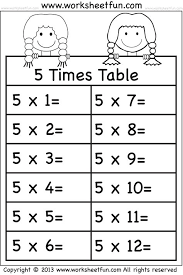 times tables worksheets 2 3 4 5 6 7 8
