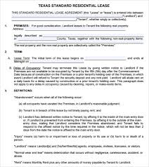 Residential Lease Contract Sample Texas Residential Lease Agreement 12 Free