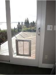 exterior door with window and dog door. plexidor pet doors installed in glass door exterior with window and dog