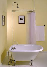 small bathroom ideas with tub and shower. yellow wall color with bronze shower rod for small bathroom ideas cast iron clawfoot tub design white floor and