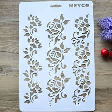 Wall Painting Paper Design A4 Diy Craft Rose Flower Layering Stencil Album Stamping