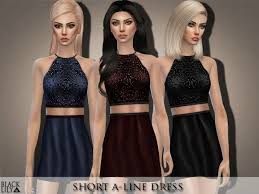 The Sims Resource: Short A-Line Dress by Black Lily • Sims 4 Downloads |  Short a line dress, A line dress, Dresses