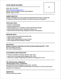 Sample Resume Format For Fresh Graduates One Page Format 1 Free