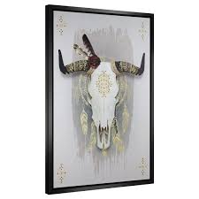 discontinued cow bull skull strauss finish framed canvas 38  on framed western wall art with shop discontinued cow bull skull strauss finish framed canvas 38